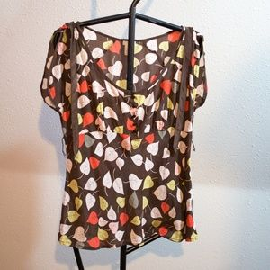 Odille 100% Silk Fall Leaves Anthro Blouse Size 12